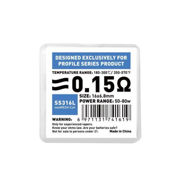 Resistenze NexMesh per Profile - wotofo 0,15ohm ss316L